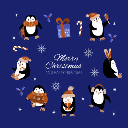Christmas decoration set with penguins and greeting. Vector illustration.