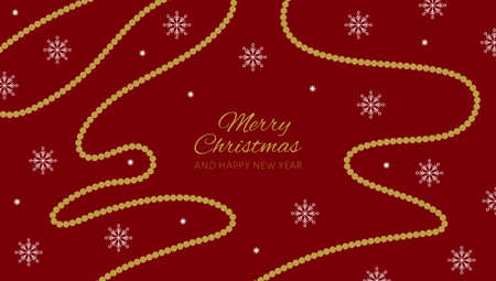 Christmas and New Year poster with beads and snowflakes on red background. Vector illustration.