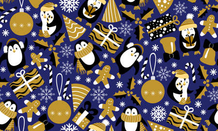 Christmas seamless pattern with penguins on dark blue background. Funny festive print. Vector illustration. Vectores