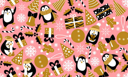 Christmas seamless pattern with penguins on pink background. Girlish festive print. Vector illustration.