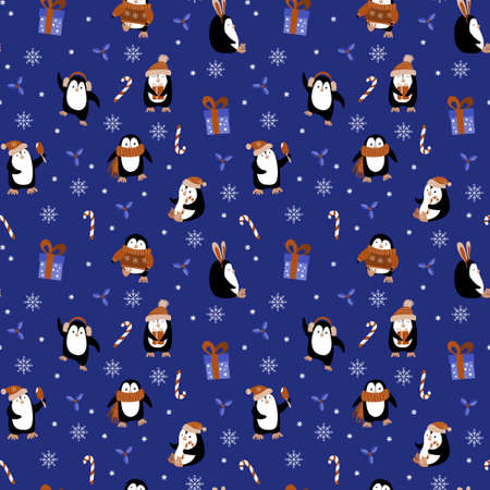 Christmas seamless pattern with cute cartoon penguins. New year decoration on dark blue background. Vector illustration.