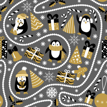 Christmas seamless pattern with penguins and beads on dark grey background. Vector illustration.