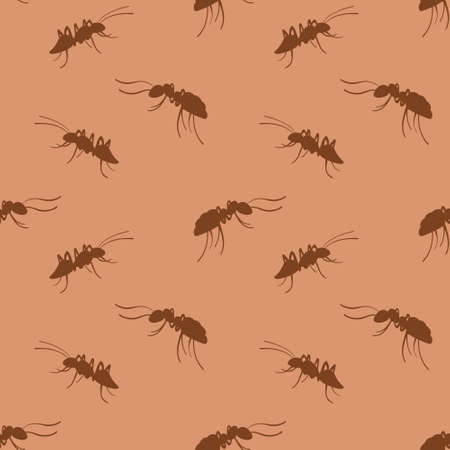 Ants seamless pattern. Brown hand drawn insects on beige background. Vector illustration. Vectores