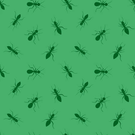 Ants seamless pattern. Green hand drawn insects on light background. Vector illustration. Vectores
