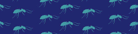 Ants seamless horizontal border. Green hand drawn insects on dark blue background. Vector illustration. Vectores