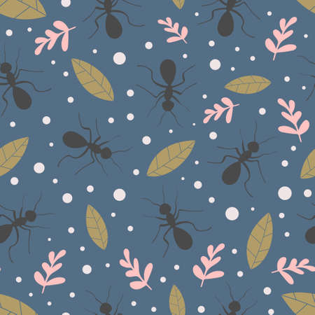 Nature seamless pattern with ants and leaves. Insects and plants. Vector illustration.