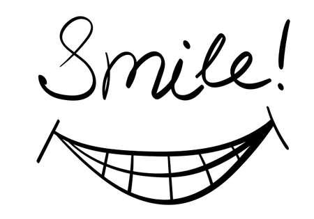 Smile hand drawn lettering isolate on white background. Vector illustration. Vectores
