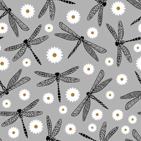 Dragonfly seamless pattern with chamomile on grey background.Vector illustration.