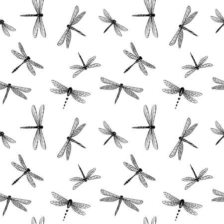 Dragonfly seamless pattern. Decorative hand drawn insects on white background. Vector illustration.