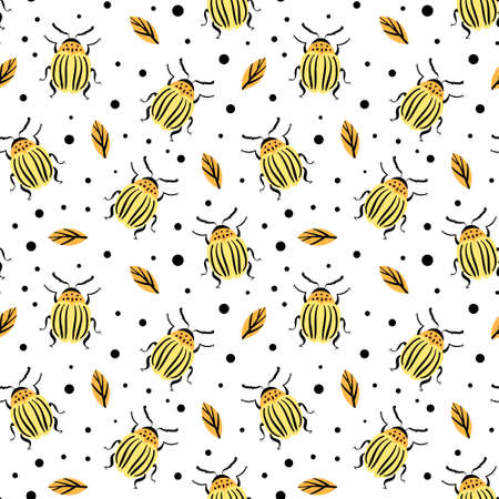 Seamless pattern with Colorado potato bugs and leaves. Vector illustration. Vectores
