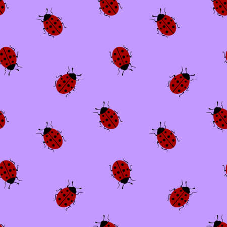 Seamless pattern with ladybug on violet background. Vector illustration. Vectores