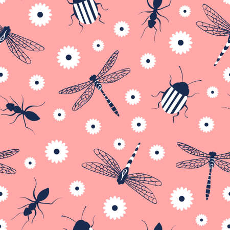 Nature seamless pattern with insects and chamomile. Dragonfly, ant and beetle on pink background. Vector illustration.