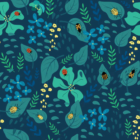 Cute green floral background with plants and insects. Vector illustration.