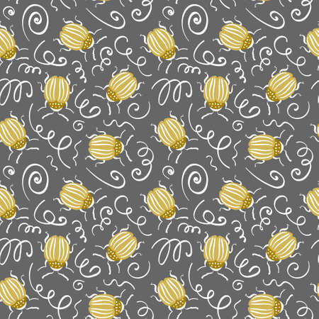 Seamless pattern with gold Colorado potato bugs and scrawl on gray background. Vector illustration. Vectores