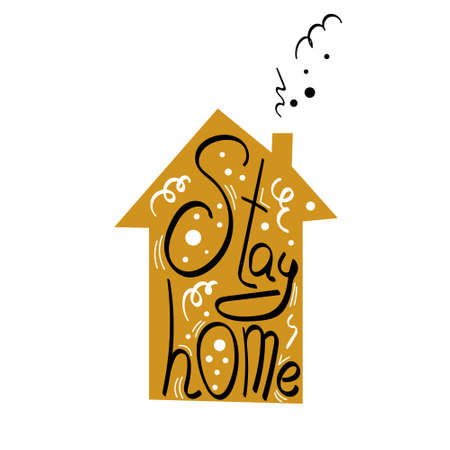 Stay home party hand drawn symbol. Lettering inside a house with chimney. Vector illustration.