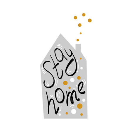 Stay home party hand drawn symbol. Lettering with bubbles. Lockdown concept. Vector illustration