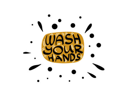 Soap with lettering inside. Wash your hands. Vector illustration. Vectores