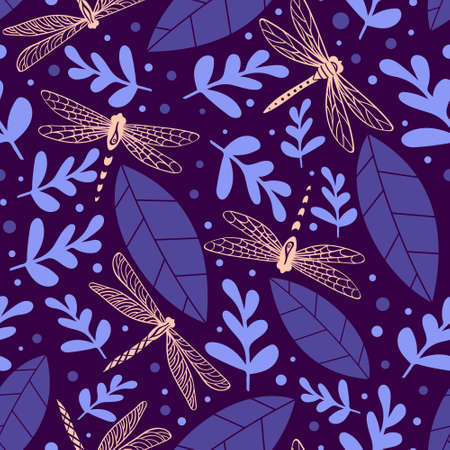 Dragonfly seamless pattern with plants. Nature print on purple background. Vector illustration.