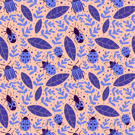 Seamless pattern with bugs and leaves on pink background. Vector illustration.