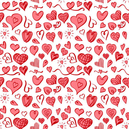 Seamless pattern with doodle heart shapes on white background. Vector illustration. 向量圖像