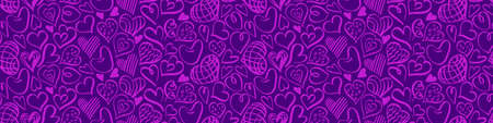 Seamless horizontal border with pink doodle heart shapes on purple background. Vector illustration.