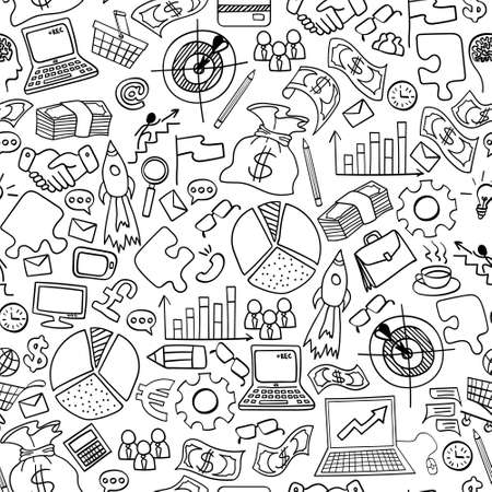 Business doodles seamless pattern. Hand drawn symbols on white background. Vector illustration. Vecteurs