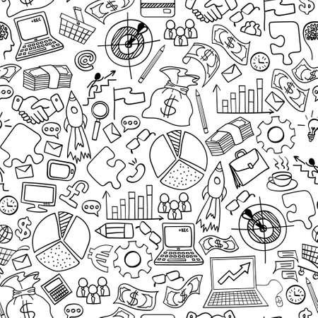 Business doodles seamless pattern. Hand drawn symbols on white background. Vector illustration. Vektoros illusztráció