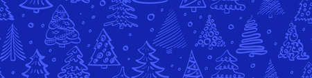 Christmas tree seamless horizontal border. Vector illustration.