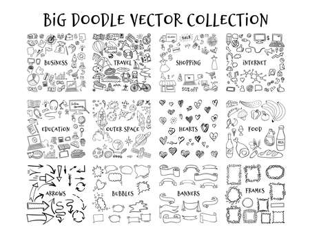 Big doodle collection. Hand drawn outline elements isolated on white background. Vector illustration. Ilustración de vector