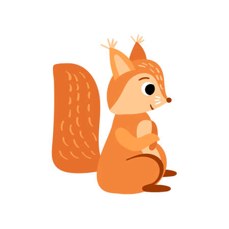 Cute cartoon squirrel. Funny woodland character isolated on white background. Vector illustration.