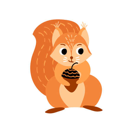 Cute cartoon squirrel with acorn. Funny woodland animal isolated on white background. Vector illustration. 向量圖像