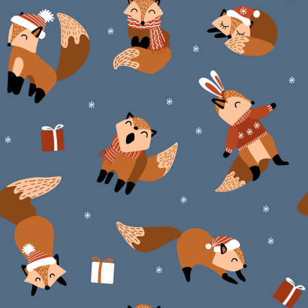 Seamless pattern with cute hand drawn foxes with winter accessories. Funny woodland animals on dark background. Vector illustration.