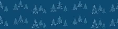 Timberland seamless horizontal border. Banner with fir trees on dark blue background. Vector illustration. Illustration