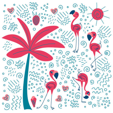 Doodle flamingo with palm tree and fillers. Summer exotic collection. Vector illustration.