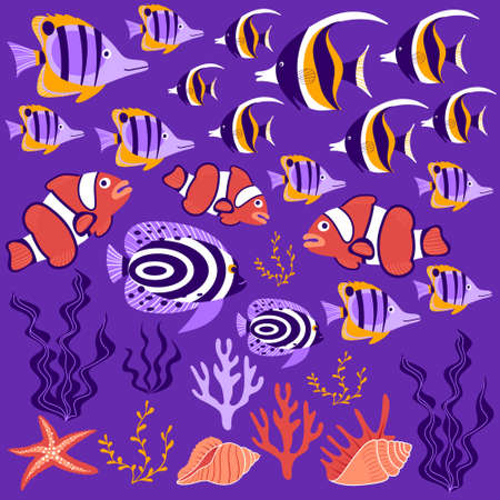 Tropical fish collection. Cute cartoon underwater creatures, shells and seawead on purple background. Vector illustration.