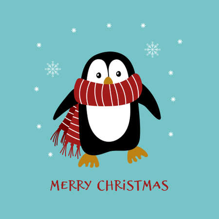 Cute cartoon penguin in warm scarf with snowflakes. Christmas greeting card. Vector illustration. Illustration
