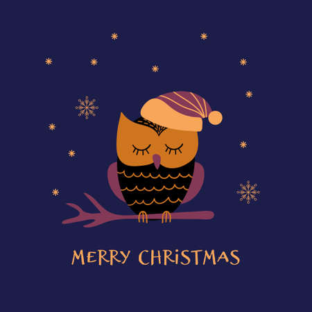 Christmas greeting card with cute owl on a branch. Vector illustration.