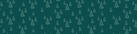 Woodland green seamless horizontal border. Web banner with single hand drawn fir tree with Christmas decoration. Vector illustration. Illustration