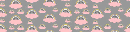 Seamless pattern with rainbows and pink clouds. Horizontal border. Vector illustration. Illustration