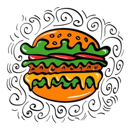 Hand drawn burger icon with decoration. Vector illustration.