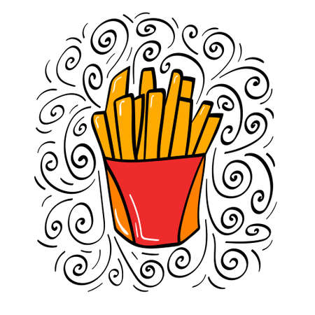 Hand drawn french fries icon with decoration. Vector illustration.