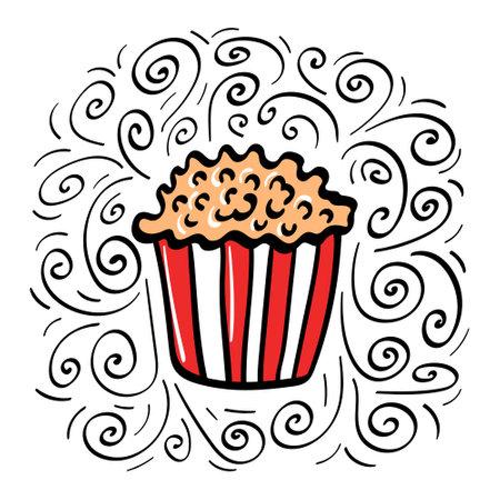 Hand drawn popcorn with decoration. Vector illustration.