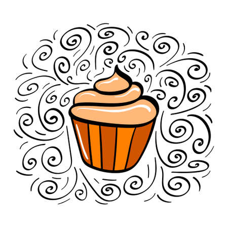 Hand drawn cupcake with decoration. Vector illustration.