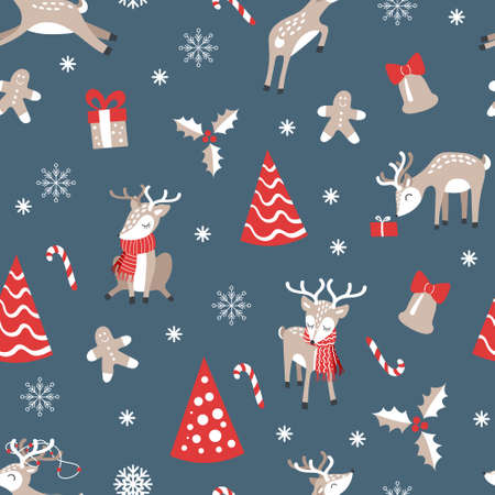 Christmas seamless pattern with cute cartoon reindeers. Festive wrapping paper design. Vector illustration.