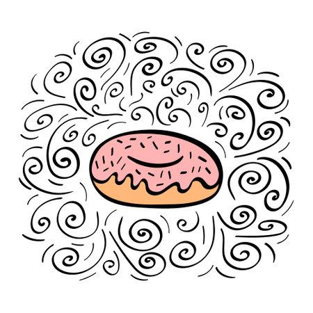Hand drawn donut with decoration. Vector illustration. Illustration
