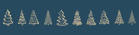 Hand drawn Christmas tree standing in a line. Horizontal border on dark blue background. Vector illustration. Illustration