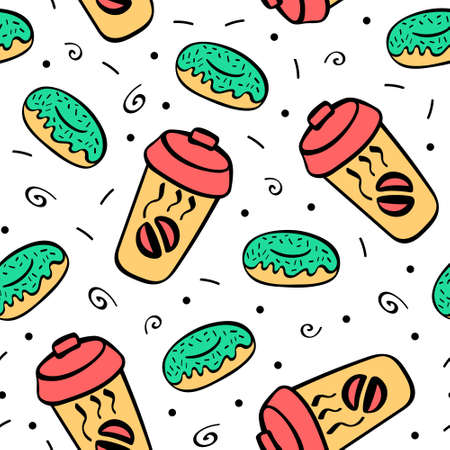 Seamless pattern with hand drawn donuts and coffee. Doodle background. Vector illustration.