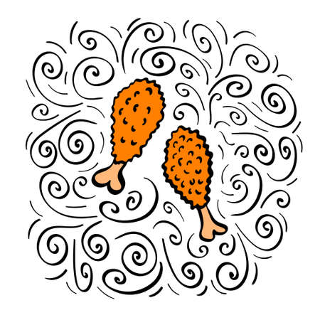 Hand drawn fried chicken with decoration. Vector illustration.