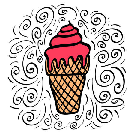 Hand drawn strawberry ice cream with decoration. Vector illustration. Illustration