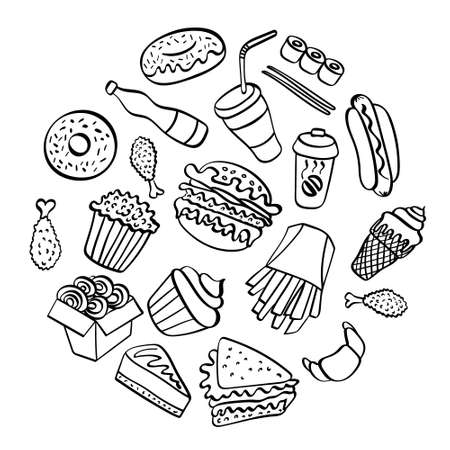 Fast food doodle collection. Hand drawn icons on white background. Vector illustration. Illustration